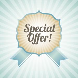 special offer over blue background vector illustration